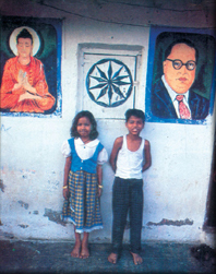 Children with poster